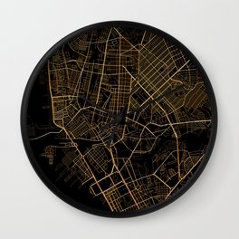 Black and gold Manila map Wall Clock