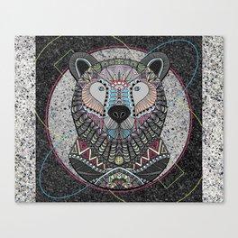 Neon Tribal Bear Canvas Print