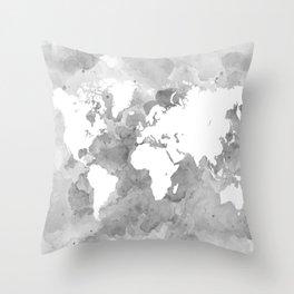 Design 49 Grayscale World Map Throw Pillow