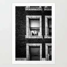 Brick Wall, Window, Torn Curtains in Los Angeles Art Print