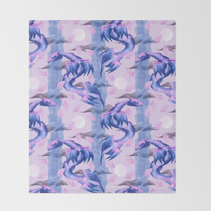 blue and pink lunar dragons pattern Throw Blanket