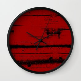 Black Grunge on Red Wall Clock