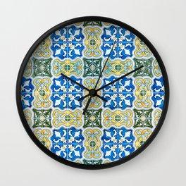 Seamless Floral Pattern Ornamental Tile Design : 6  blue, yellow Wall Clock