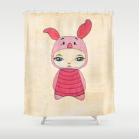 piglet Shower Curtains featuring A Boy - Piglet (porcinet) by Christophe Chiozzi