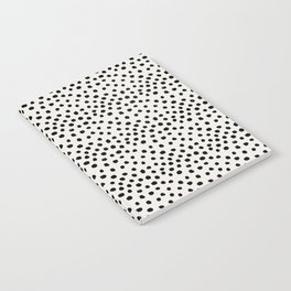 Preppy brushstroke free polka dots black and white spots dots dalmation animal spots design minimal Notebook