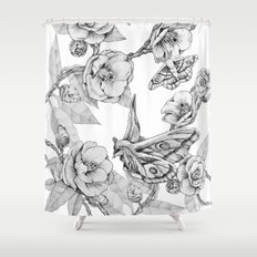 Moths & Camellias Shower Curtain