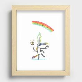 RAINBOW UNICORN MAGIC PARTY Recessed Framed Print
