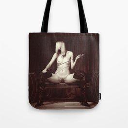 Kinky fetish image with a nude beauty Tote Bag