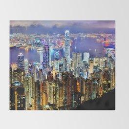 Hong Kong City Skyline Throw Blanket