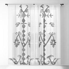 Tree of Life Black White Tribal Ethnic Kilim Motif Sheer Curtain