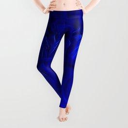 Royal Blue Fractal dahlia Leggings