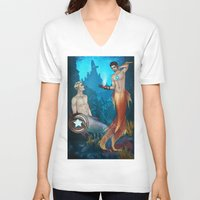 superheroes V-neck T-shirts featuring UNDERWATER SUPERHEROES by FISHNONES