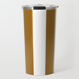 Vertical Stripes - White and Golden Brown Travel Mug