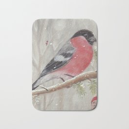 Bullfinch and Gnome-girl - Christmas Bath Mat