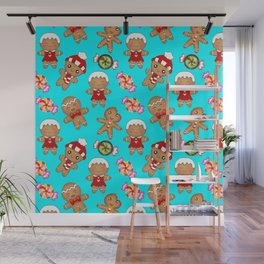 Cute seamless pattern. Happy festive gingerbread men and sweet xmas caramel chocolate candy Wall Mural