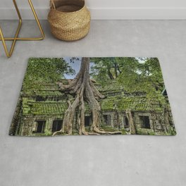 Ruins of Angkor Wat Temple Being Overgrown by Ancient Roots of Banyan Tree Rug