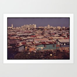 'MODERN BUILDINGS TOWER OVER THE SHANTIES CROWDED ALONG THE MARTIN PENA CANAL' Art Print