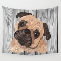 hug Wall Tapestries featuring Pug Hug by ArtLovePassion