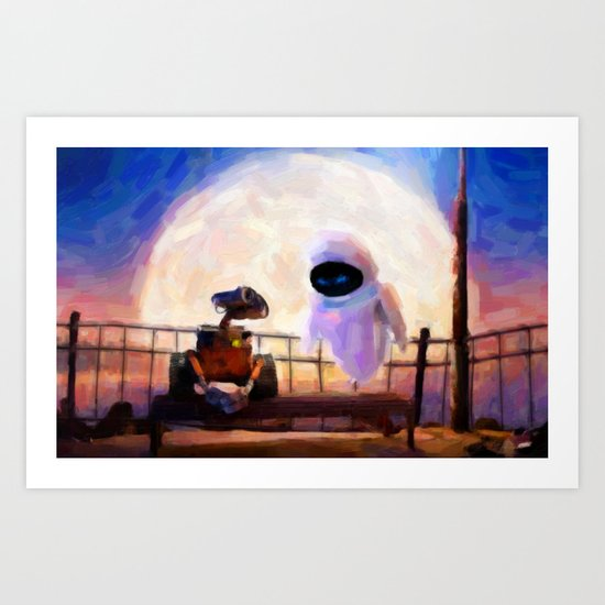 Wall-E & Eve - Painting Style Art Print