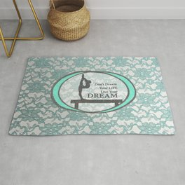 Gymnastics Live Your Dream Collection in Mint and Silver Lace Design Rug