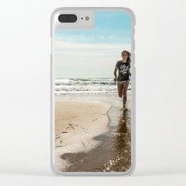 Vintage photo beach girl Clear iPhone Case