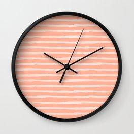 Sweet Life Thin Stripes Peach Coral Pink Wall Clock