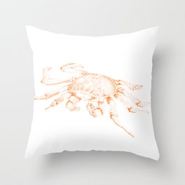 Crab Illustration - Japanese Inspired Pointillism Drawing Throw Pillow