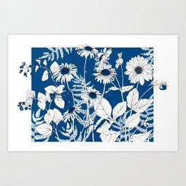 Classic blue flowers Art Print