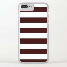 Horizontal Stripes - White and Dark Sienna Brown Clear iPhone Case