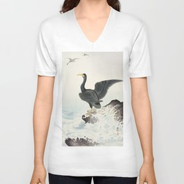 Cormorants at stormy sea - Japanese vintage woodblock print art Unisex V-Neck