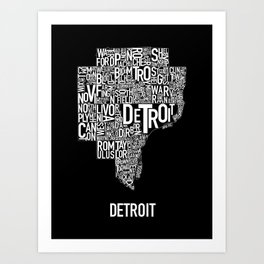 Detroit Typography map poster - Black Art Print