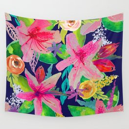 Neon Azeleas // Navy Wall Tapestry