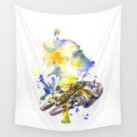falcon Wall Tapestries featuring Star Wars Millenium Falcon  by idillard