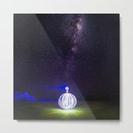 Milk way lighthouse Metal Print