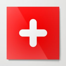 Swiss Flag (rounded) Metal Print