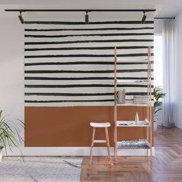 Burnt Orange x Stripes Wall Mural