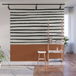 Burnt Orange x Stripes Wall Mural