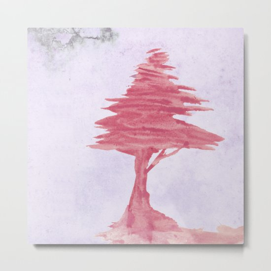 Red Tree watercolor on old paper Metal Print