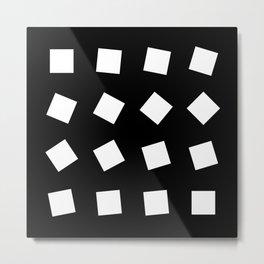 Geometric Pattern 32 (black white squares) Metal Print