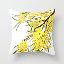 Godlen wattle flower watercolor Throw Pillow