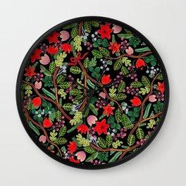 Christmas Floral Black Wall Clock