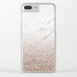 Glitter ombre - white marble & rose gold glitter Clear iPhone Case