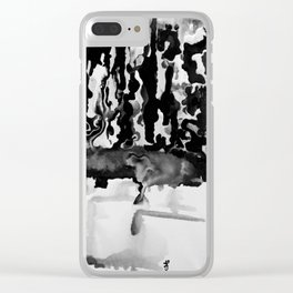 Dripping Tease in Black and White Clear iPhone Case
