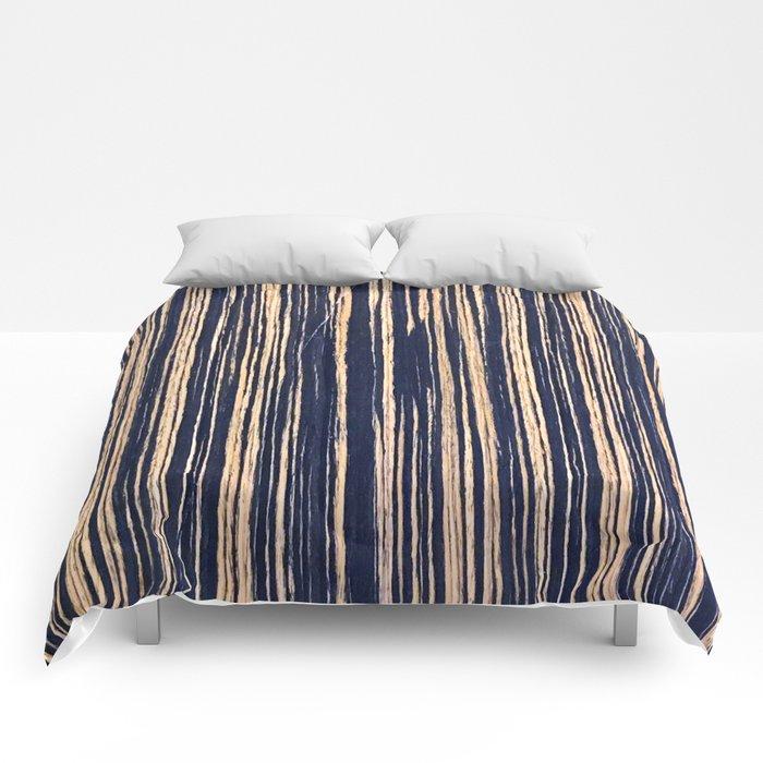 Vertical Scratches on Dark Blue Metal Texture Comforters