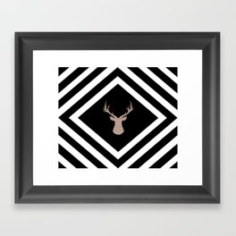 Abstract geometric pattern - Deer - black, brown and white. Framed Art Print