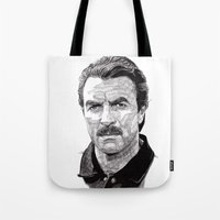 tom selleck Tote Bags featuring Tom by Rik Reimert