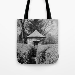 Hedge Maze Labyrinth in Black and White - New Harmony, Indiana Tote Bag