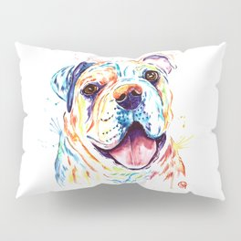 Bulldog Colorful Watercoor Pet Portrait Painting - Shelby Rue Pillow Sham