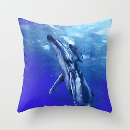Whale with baby Throw Pillow