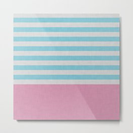 Pink and blue stripes and color block Metal Print